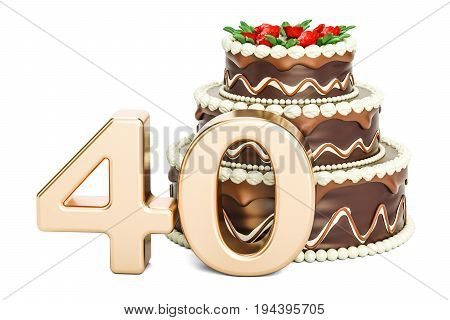 Chocolate Birthday cake with golden number 40 3D rendering isolated on white background