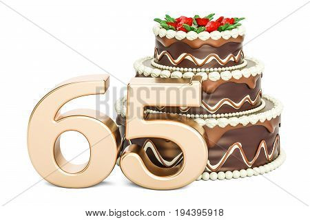 Chocolate Birthday cake with golden number 65 3D rendering isolated on white background