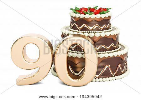 Chocolate Birthday cake with golden number 90 3D rendering isolated on white background