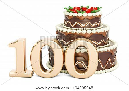 Chocolate Birthday cake with golden number 100 3D rendering isolated on white background