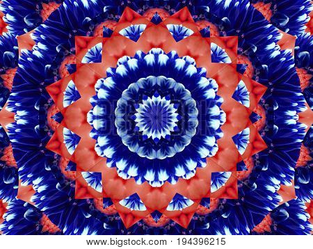Flower kaleidoscope pattern abstract background. Red blue navy abstract fractal kaleidoscope background. Floral abstract fractal pattern geometrical symmetrical ornament. Flower kaleidoscope