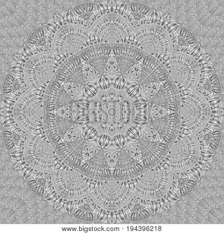 Kaleidoscope silver metal pattern abstract background. Silver kaleidoscope pattern abstract fractal background. Abstract fractal pattern geometrical symmetrical ornament illustration. Floral pattern
