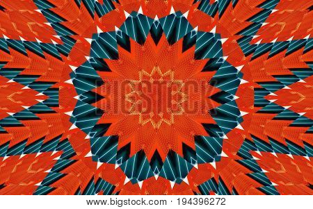 Kaleidoscope pattern abstract background. Round pattern. Architectural abstract fractal kaleidoscope background. Abstract fractal pattern geometrical symmetrical ornament. Architectural pattern
