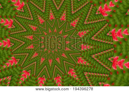 Flower kaleidoscope spiral pattern abstract background. Green Red abstract fractal kaleidoscope background. Floral abstract spiral effect pattern geometrical ornament. Flower kaleidoscope