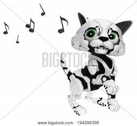 Robotic kitten music listening ear 3d illustration horizontal isolated