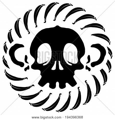 Monkey skull stylized stencil black vector illustration isolated