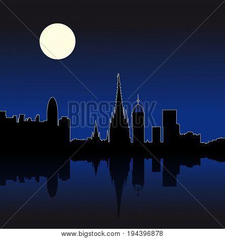 Barcelona Spain city Night skyline vector silhouette illustration