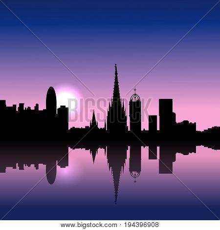 Barcelona Spain city Sunrise skyline vector silhouette illustration