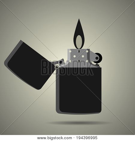 pocket lighter icon in flat style black and white colors illustration for web site or mobile app