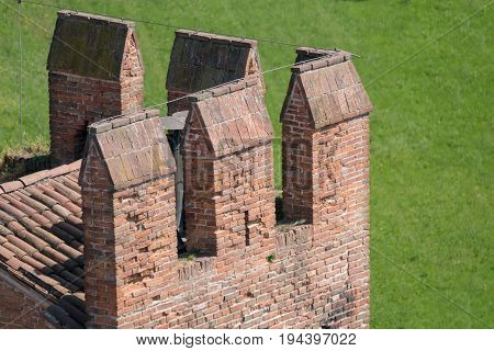 Details of the battlements of a tower in a medieval castle.