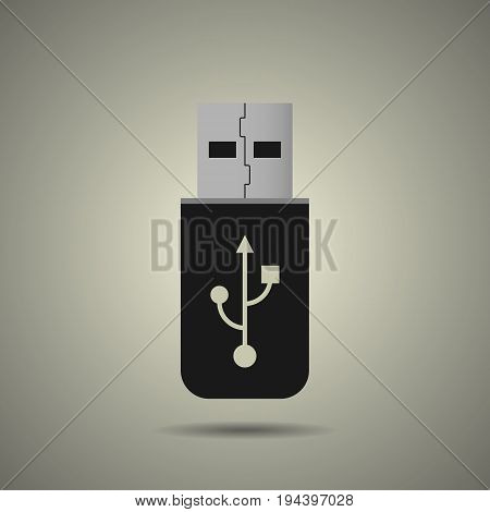 usb flash drive icon in flat style black and white colors
