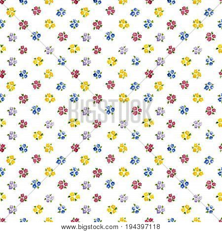 Calico Watercolor Forget Me Not Pattern. Pleasing Seamless Cute Small Flowers For Fabric Design. Cal
