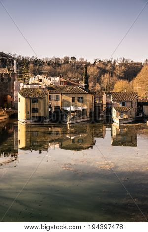 Borghetto is a fraction of the municipality of Valeggio sul Mincio in the province of Verona. The buildings were built on the river that flows beneath the houses.