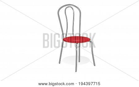 chair with red seat on the white background
