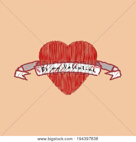 Red heart wit tape in flat design