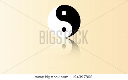 Yin Yang symbol in flat design with mirror