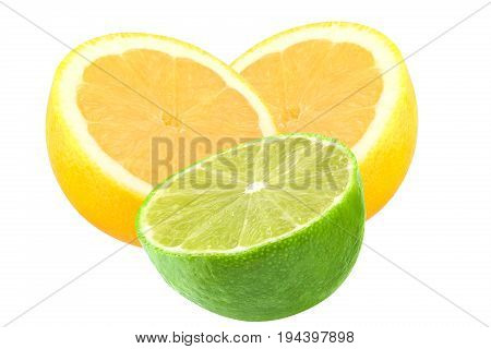 Isolated lemon and lime. Cut lemon fruit and lime isolated on white background with clipping path