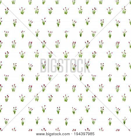Calico Watercolor Tulips Red Pattern. Beauteous Seamless Cute Small Flowers For Fabric Design. Calic