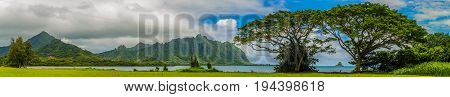 Panoramic view of the Koolau mountains and Kaneohe Bay with a view of Chinaman's Hat island on Oahu Hawaii