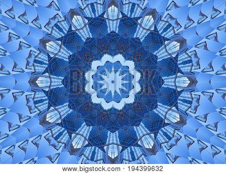 Kaleidoscope pattern abstract background. Round pattern. Architectural abstract fractal kaleidoscope background. Abstract fractal pattern geometrical symmetrical ornament. Architectural pattern