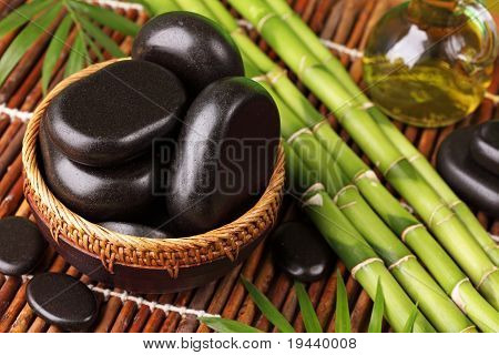 Spa still life with hot stones