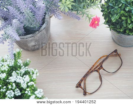 wood table with beautiful flower frame on pot and modern eyeglasses view from top wood table.