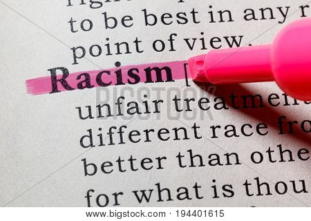 Fake Dictionary Dictionary definition of the word Racism. including key descriptive words.