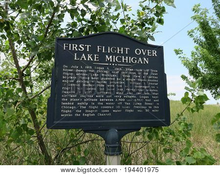 First Flight of 1913 historical marker sign at Silver Beach County Park, St. Joseph, Michigan