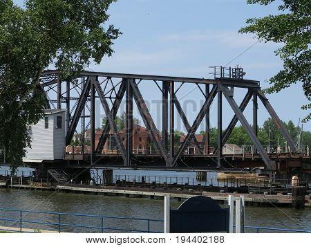 Railroad Swing Bridge over St. Joseph River in St. Joseph, Michigan