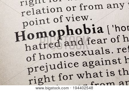 Fake Dictionary Dictionary definition of the word homophobia. including key descriptive words.