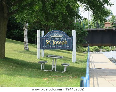 St. Joseph, Michigan wooden greeting sign welcomes visitors
