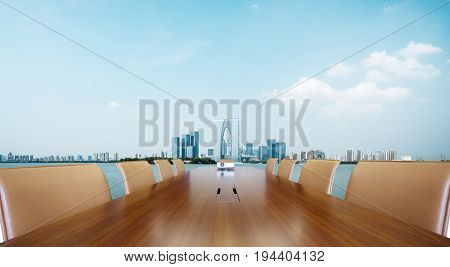 painted conference table with cityscape of suzhou in blue sky
