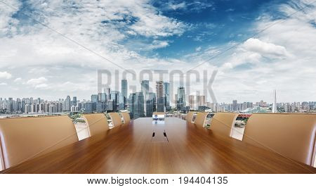 painted conference table with cityscape of chongqing in cloud sky