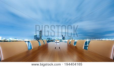 painted conference table with cityscape of nanjing at twilight