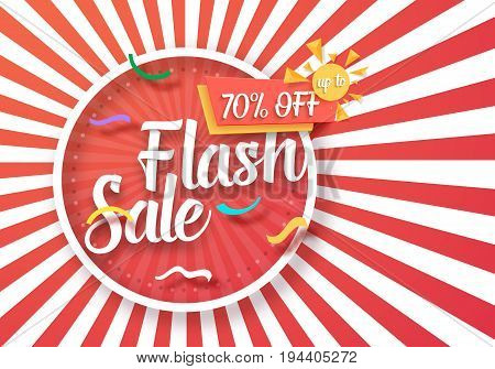 Illustration of Flash Sale Vector Poster with Sunburs Lines on Background. Bright Sale Flyer Template