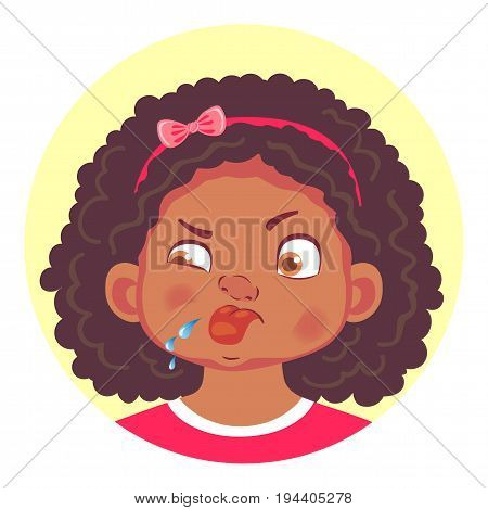 African girls emotions. Facial expression. Set of emoticons. Tongue