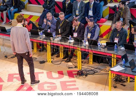 Moscow, Russia - June 6, 2017: Representative of a startup presents its project to investors at Startup Village at Skolkovo Innovation Centre