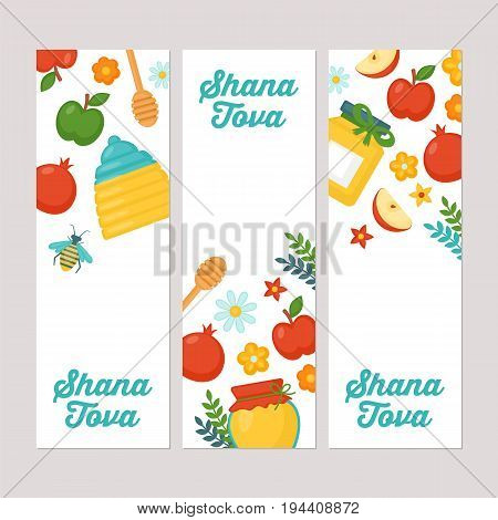 Rosh Hashanah Jewish New Year Holiday Banner Design Set