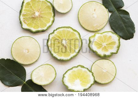 background nature vegetable lime slice on whtie