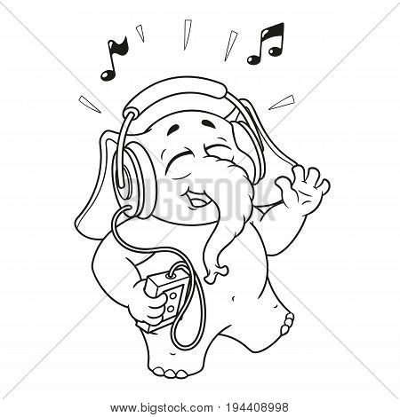 Big collection vector cartoon characters of elephants on an isolated background. Listening to music on headphones.