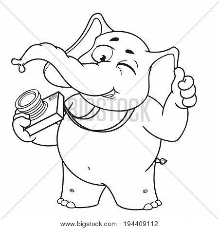 Big collection vector cartoon characters of elephants on an isolated background. Photographer winks