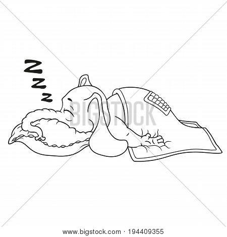 Elephant. Character. He sleeps with a deep sleep, covered with a blanket. Big collection of isolated elephants. Vector, cartoon.