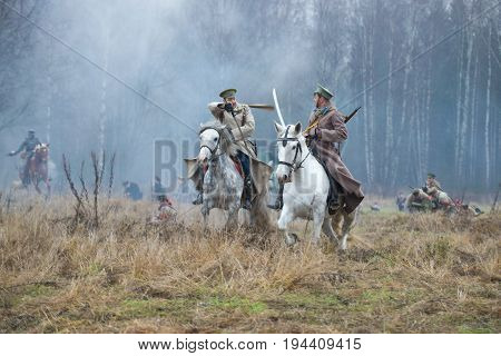 GATCHINA, RUSSIA - NOVEMBER 07, 2015: Horse fight. Fragment of the international military-historical festival