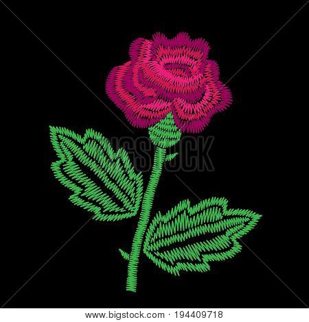 Embroidery stitches imitation big roses. Fashion embroidery rose flower on black background. Embroidery pink roses vector.