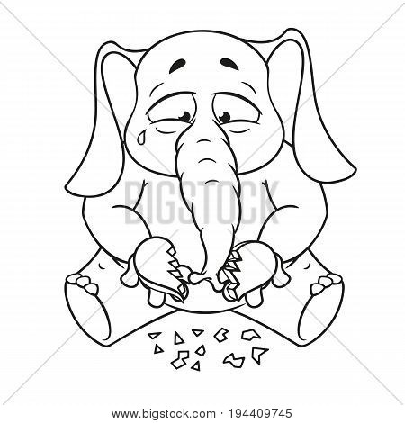 Elephant. Character. Broken heart in his hands. Big collection of isolated elephants. Vector, cartoon.