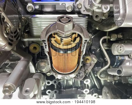 Engine oil filter cross section , display inside materials .