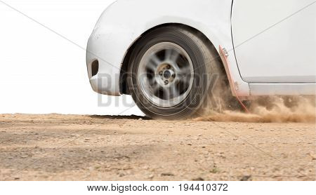 Rally Car speed in dirt road .
