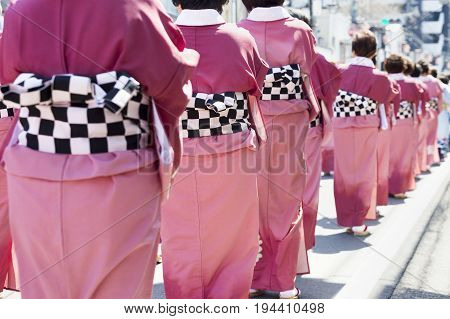 Peoples wearing traditional clothes in the celebrate on Sakura festival ,KAWAGOE,  JAPAN