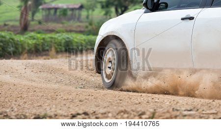 Rally Car speed in dirt track .