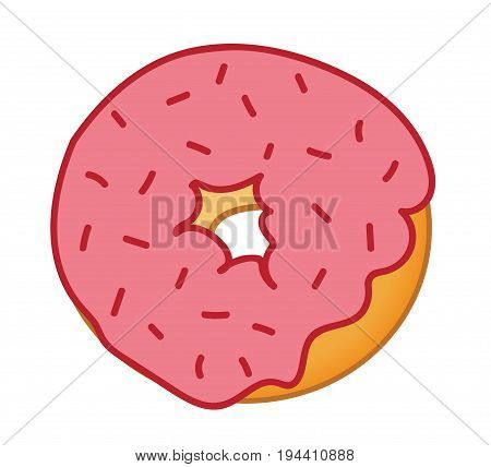 Red Sprinkles Frosted Donut on Isolated White Background